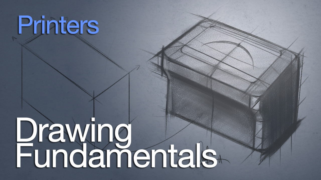 DRAWING FUNDAMENTALS SERIES – DRAWING A PRINTER WITH BASIC SHAPES
