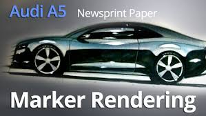 SPORTS CAR RENDERING ON NEWSPRINT TUTORIAL