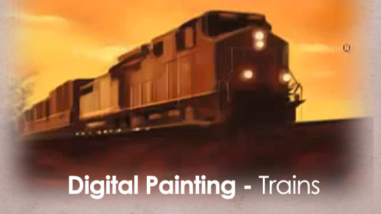 DIGITAL PAINTING: TRAINS IN THE SUNSET