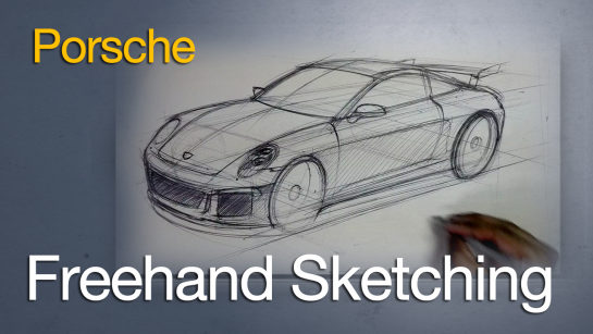 Full Narrated Tutorial: Freehand Sketching a Porsche 911 Ball Point Pen