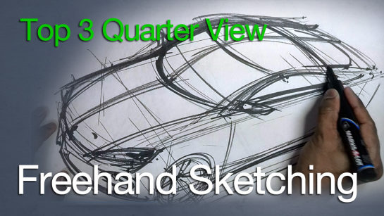 How to Sketch and Design – Car Sketch Top 3/4 View