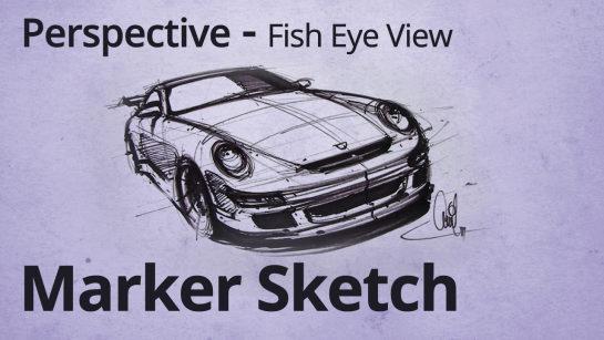 Porsche 911 Car Designer Sketch Fish Eye View