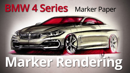 2014 BMW 4 Series Coupe Car Designer Marker Rendering
