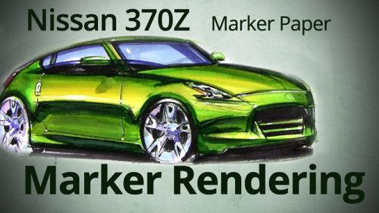 Nissan 370z Car Designer Marker Rendering