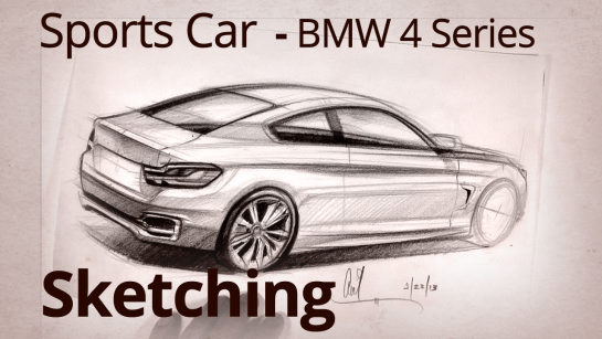 2014 BMW 4 Series Coupe Car Designer Rear View Sketch